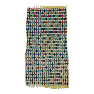 Vintage Berber Moroccan Azilal Rug with Diamond Lozenge Pattern For Sale