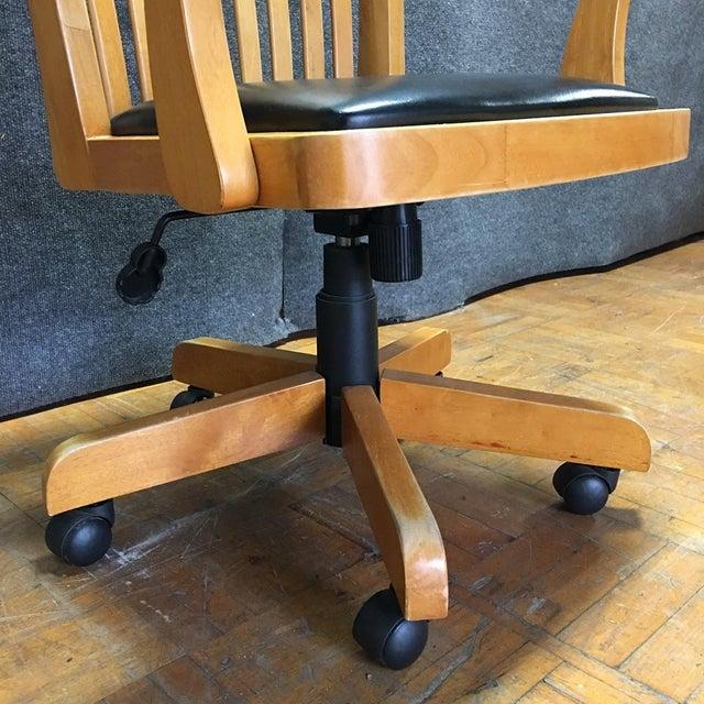 Adjustable Wood Banker's Desk Chair - Image 4 of 8