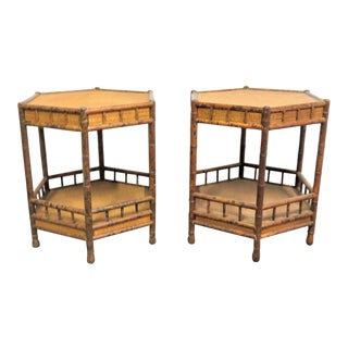 Mid Century Modern Burnt Bamboo Side Tables - a Pair For Sale