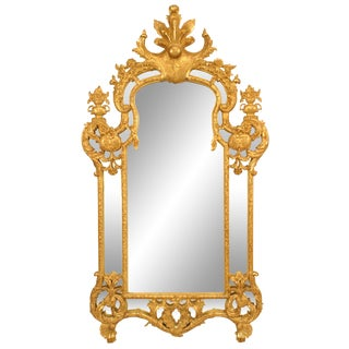 Mid 20th Century French Regency Style Gilt Carved Wall Mirror For Sale