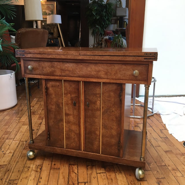 Burl Wood and Brass Bar Cart by Weiman - Image 8 of 9