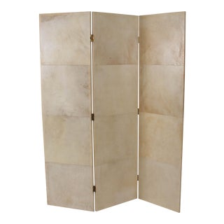 3-Panel Parchment Room Divider For Sale