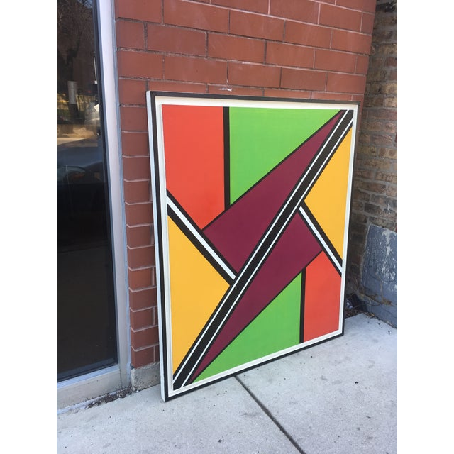"""Abstract Vintage Mid-Century """"Intersection #3"""" Oil & Acrylic Painting For Sale - Image 3 of 9"""