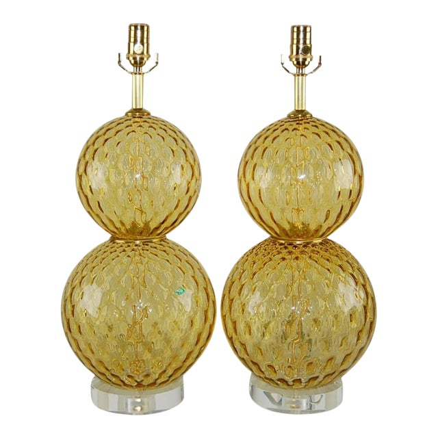 Vintage Murano Stacked Ball Glass Table Lamps Gold For Sale