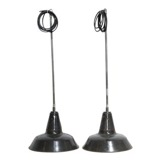 Vintage Industrial Pendant Lights - A Pair
