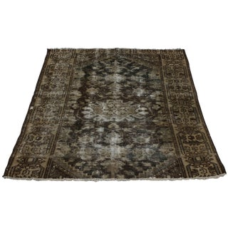 Vintage Mid-Century Hand-Knotted Wool Persian Hamedan Rug - 3′ × 4′1″ For Sale