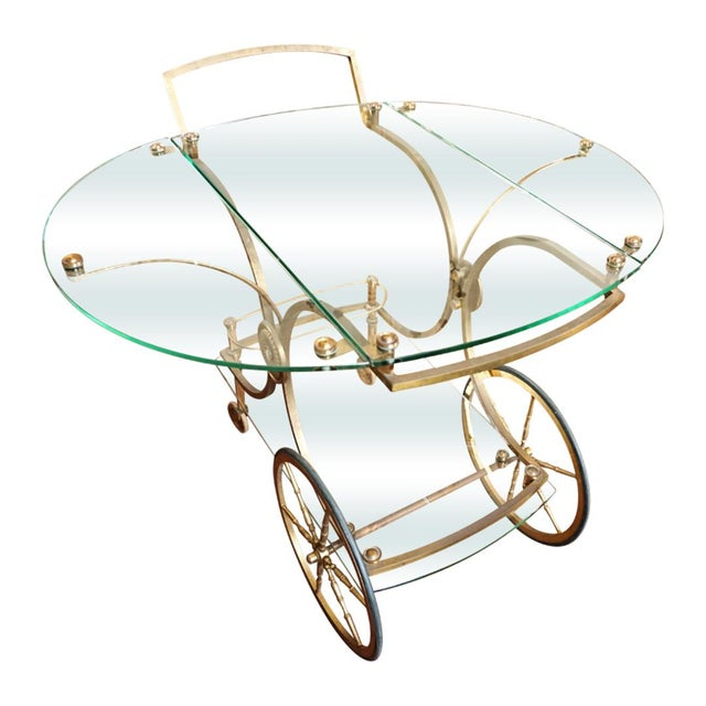 French Brass and Glass Service Table For Sale - Image 10 of 10