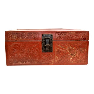 Antique Red Leather Trunk For Sale