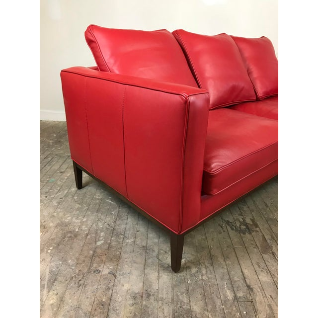 Room & Board Mid Century Style Red Sled - McCreary Modern for Room & Board Leather Sofa For Sale - Image 4 of 10