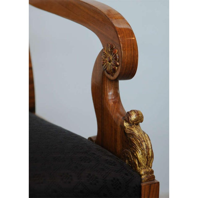 Gold Leaf Pair of Russian Neoclassic Circassian Walnut and Parcel-Gilt Chairs For Sale - Image 7 of 9
