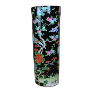 19th Century Antique Chinese Hand Painted Ceramic Umbrella Stand For Sale