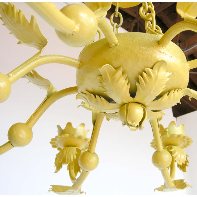 Canary Yellow Wrought Iron Chandelier - Image 6 of 6