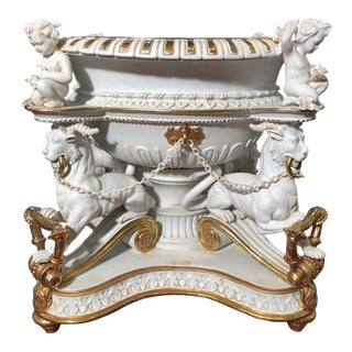 19th Century Empire Biscuit Porcelain Centerpiece For Sale