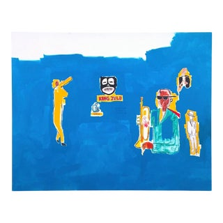 "Jean Michel Basquiat Estate Fine Art Lithograph Pop Art Print "" King Zulu "" 1986 For Sale"