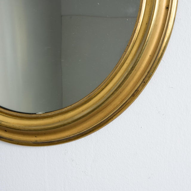 Antique Napoleon III Brass Oval Mirror For Sale - Image 4 of 5