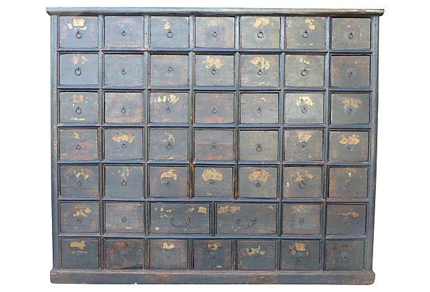 Large Antique Chinese Apothecary Cabinet Chest