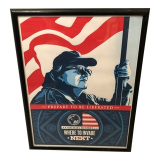 Shepard Fairey Framed Numbered Where to Incase Next Michael Moore Lithograph For Sale