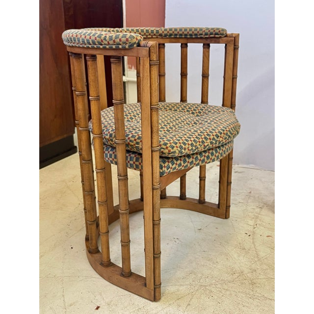 Mid 20th Century Vintage Set of 4 Bamboo Barrel Back Game Chairs For Sale - Image 5 of 13