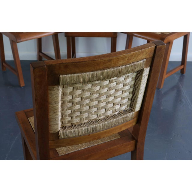 Brown Articulate Woven Mid Century Dining Set in Teak With Glass Top Table For Sale - Image 8 of 9