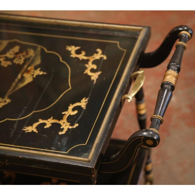 Early 20th Century French Chinoiserie Hand Painted Bar Cart For Sale - Image 10 of 10