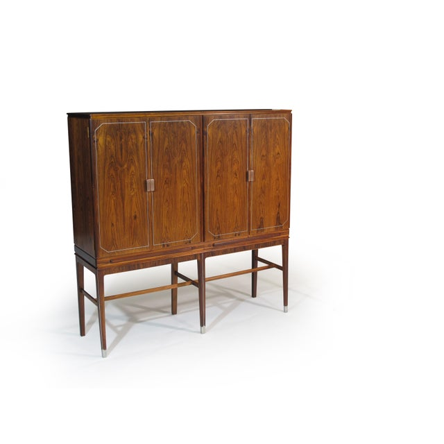 Brown Georg Kofoed Rosewood Cabinet with Eight-Karat White Gold Inlay For Sale - Image 8 of 10