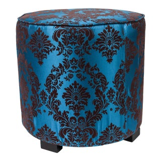 Pair of Blue and Brown Upholstered Stools
