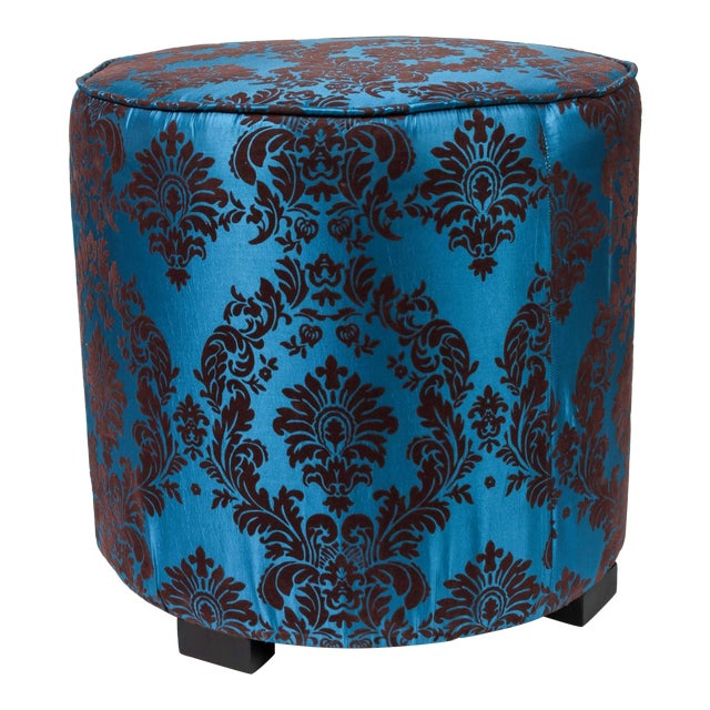 Pair of modern Moroccan style stool in blue and brown fabric upholstery in 1970s style. Moroccan hassock, upholstered...