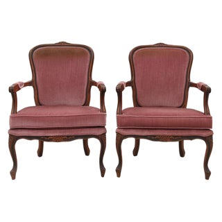 Louis XV Style Dusty Rose Armchairs - A Pair For Sale