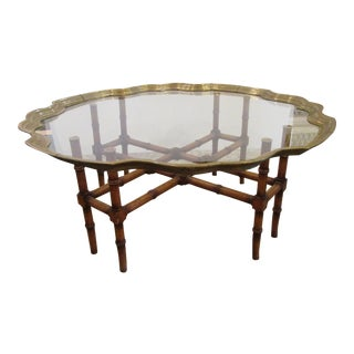 1990s Contemporary Shaped Brass Edged Glass Top Coffee Table For Sale