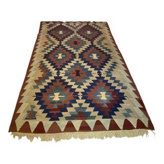 Vintage Handwoven Wool Flat Weave Turkish Kilim Geometric Area Rug For Sale