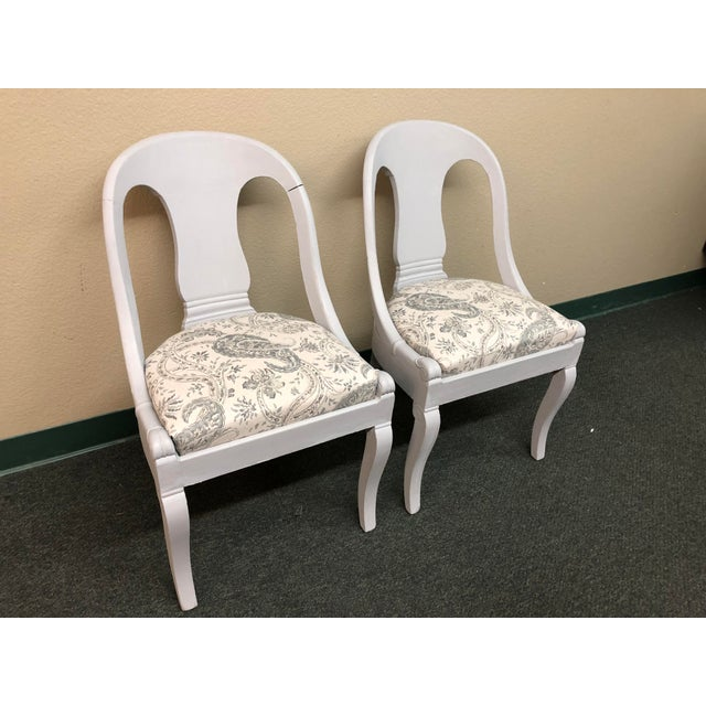 Design Plus presents two elegant grey chalk paint chairs, suitable for small breakfast nooks, small indoor patio or small...