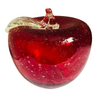 Vintage Hand Blown Red Glass Apple Paper Weight For Sale