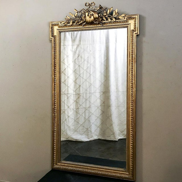 French 19th Century French Louis XVI Style Gilded Mirror For Sale - Image 3 of 12