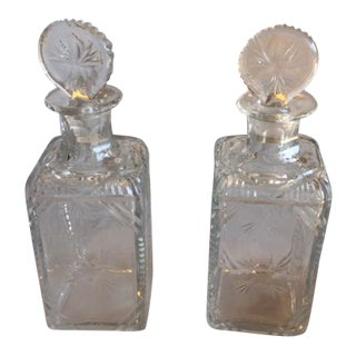 19th Century English Etched Decanter - a Pair For Sale