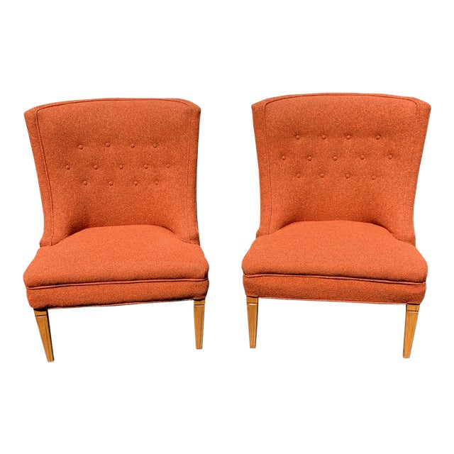 Vintage Mid Century Tweed Lounge Chairs- a Pair For Sale