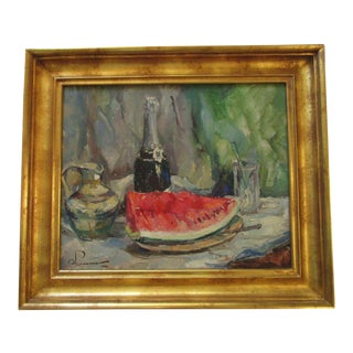 Mid Century Painting Mystery Artist Watermelon Impressionist Champagne Vintage For Sale