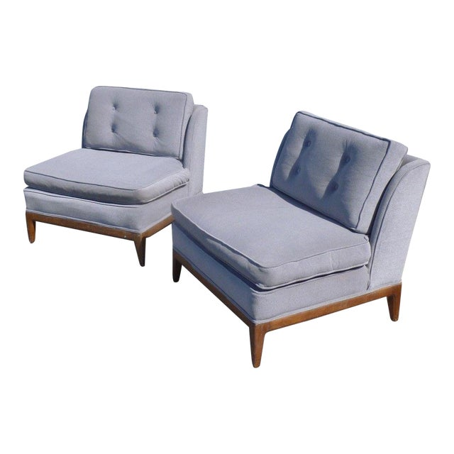 1950s Mid-Century Modern Edward Wormley Low Back Slipper Chairs - a Pair For Sale