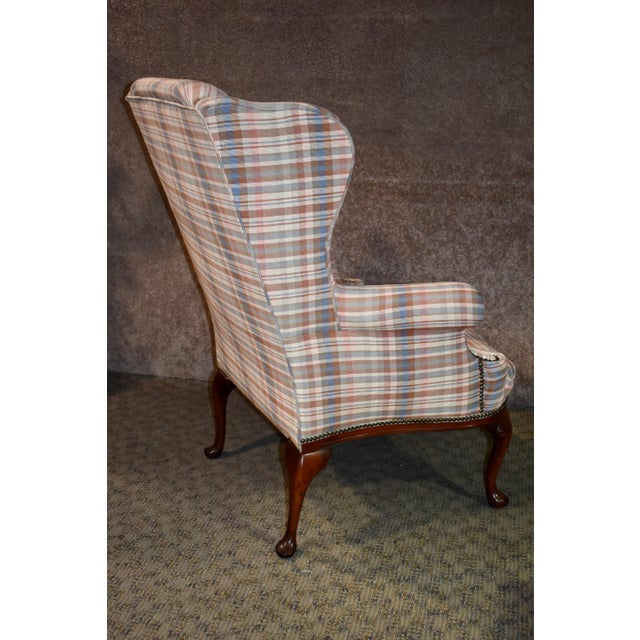 Sensational Shape Patterned Queen Anne Style Wing Chair Creativecarmelina Interior Chair Design Creativecarmelinacom