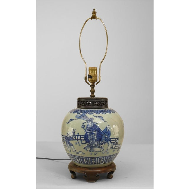 Asian Chinese Style Celadon Porcelain Lamp For Sale - Image 4 of 4