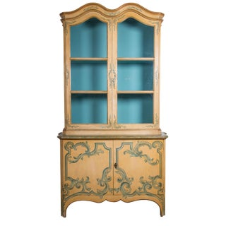 Painted Italian Cabinet with Glazed Doors