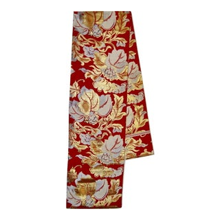 Japanese Obi Red Gold Floral Silk Table Runner Wall Hanging For Sale
