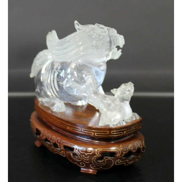 Chinese Rock Crystal Glass Fu Dog Statuette Wood Base Table Sculpture For Sale In Detroit - Image 6 of 11