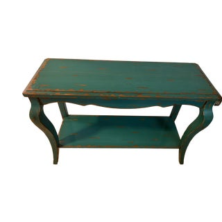 1970s Green Distressed Wooden Console Table For Sale