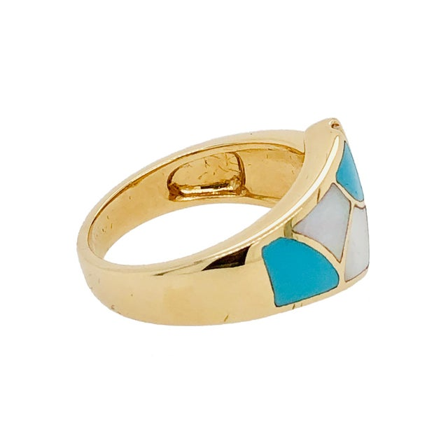 Asch Grossbardt 14k Gold Turquoise Diamond Mop Ring For Sale - Image 4 of 5