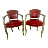 Image of French Vintage Green Painted Red Leather Chairs - a Pair For Sale