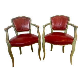 French Vintage Green Painted Red Leather Chairs - a Pair For Sale