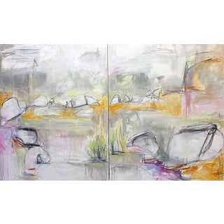 """""""Safari"""" Extra-Large Oil Diptych Abstract Painting by Trixie Pitts For Sale"""