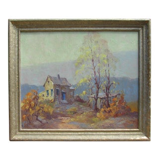 "Vintage Oil Painting ""Cabin - Backwoods of Tennessee"" Albert Alfredson Chicago Artist For Sale"