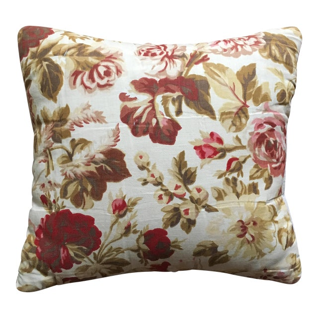 Vintage French Floral & Linen Textile Accent Pillow - Image 1 of 8
