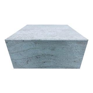 Italian Travertine Square Cube Coffee Table, 1970s For Sale